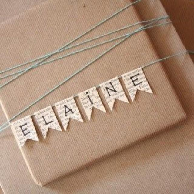wedding photo - Name Bunting Christmas Gift Wrapping  @  Decorating-by-day