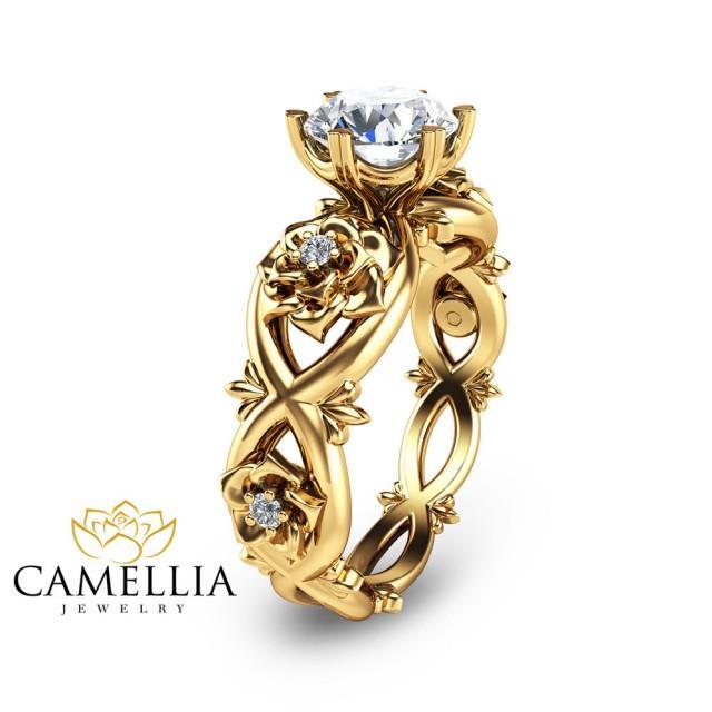 wedding photo - Alternative Engagement Ring Moissanite 14K Yellow Gold Moissanite Engagement Ring 1 Carat Engagement Ring