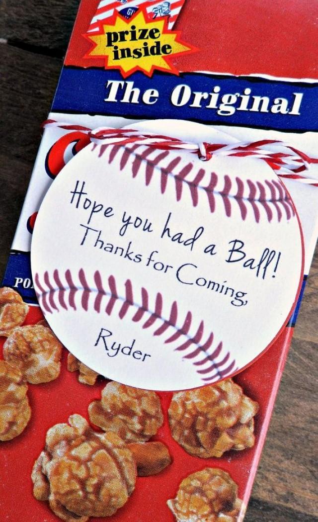 wedding photo - Custom Baseball Birthday Party Favors- Hope You Had A Ball!, Boys Baseball Birthday
