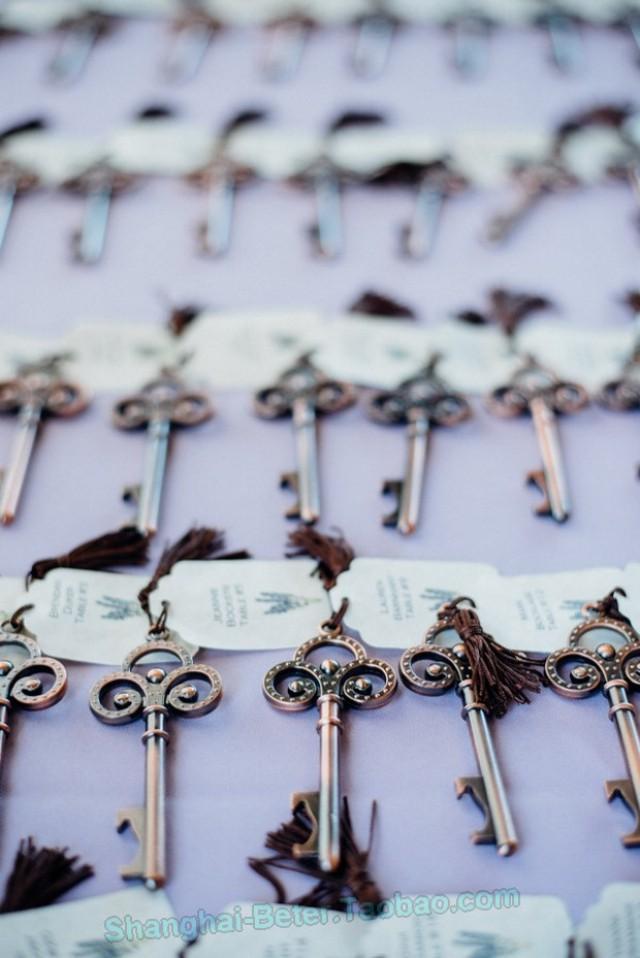 wedding photo - Beter Gifts®Rustic Skeleton Key beer Bottle Opener Bridal Favors BETER-WJ110