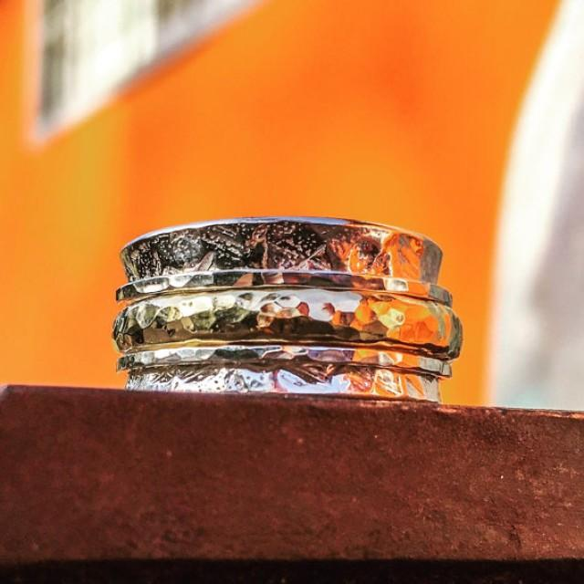 wedding photo - Two Tone ring - Silver and Gold spinner ring - Unisex ring - Comfort wedding band - Spinning ring - Worry ring - Meditation ring