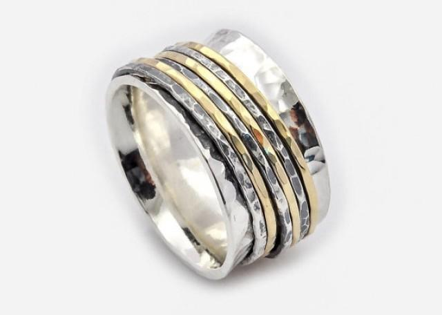 wedding photo - Six Bands spinner Ring - Unisex Spinner Ring - Wide Spinner Ring - Meditation Ring - Worry Ring - Fidget Ring - Silver and gold ring