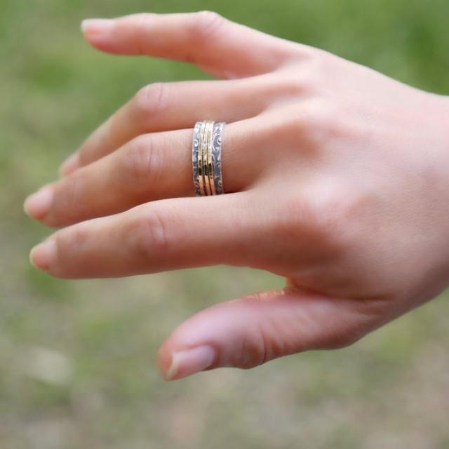 wedding photo - Triple Spinner Ring - Narrow Spinning ring - Floral silver Ring - Delicate Silver ring - Meditation Ring - Silver and Gold Ring - Spin Ring