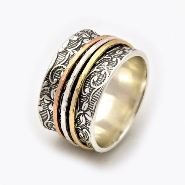 wedding photo - Leaf Motif Spinner Ring, Leaf Spinner Ring, Meditation Ring, Fidget Ring, Worry Ring, Triple Spinner Ring, Nature Inspired, anxiety ring