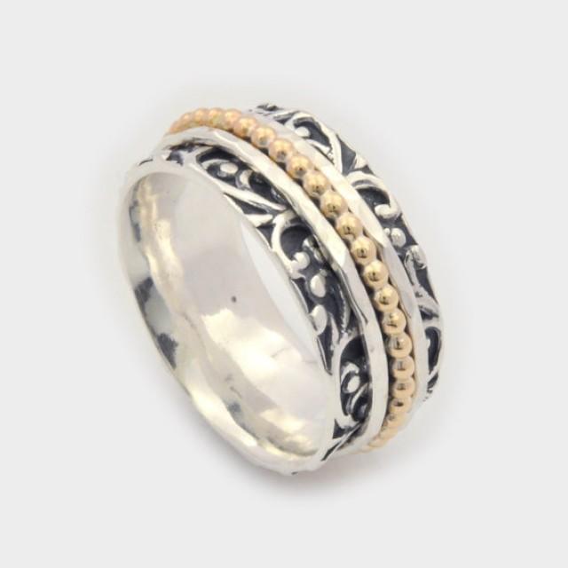 wedding photo - Floral Motif Spinner Ring, Leaf Motif Spinner Ring, Elegant Spinner Ring, Silver Spinner Ring, Fidget Ring, Worry Ring, Meditation Ring