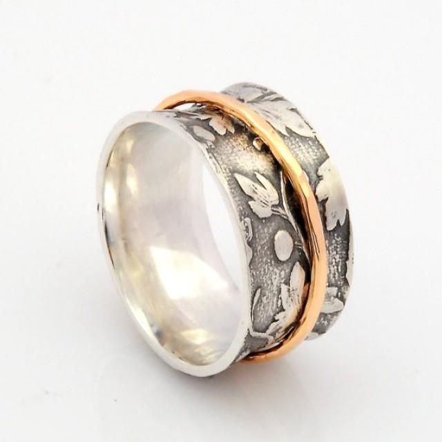 wedding photo - Silver and Gold Spinner Ring - Leaf Motif Ring - Concave Comfort Fit Ring - Nature Inspired Woodland Ring - Handmade Gold spinner ring