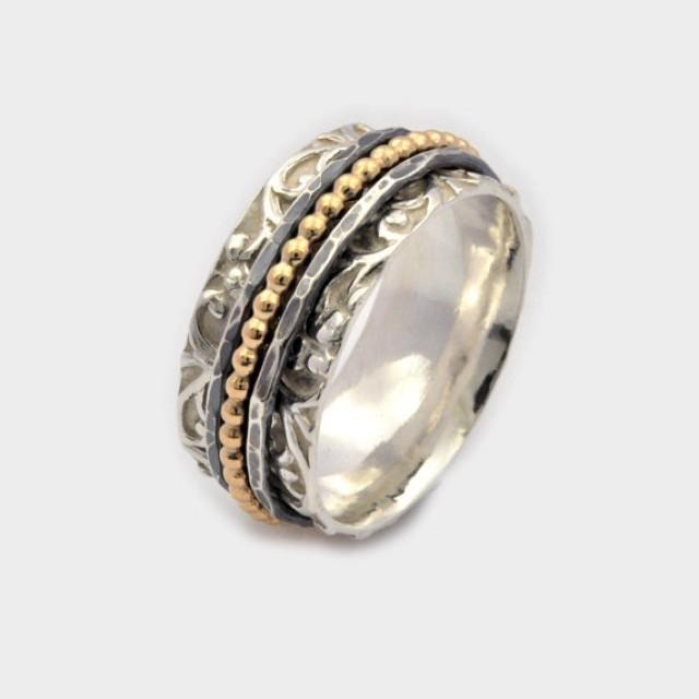 wedding photo - Sterling Silver, New Meditation Ring, Spinning Ring, spinner rings, worry ring, anxiety ring, Nickel free silver, Silver and gold Ring