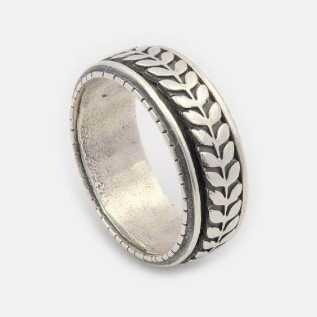 wedding photo - Silver Floral ring, Spinning ring for women, Sterling Silver Spinner ring, Oxidized Spinning Ring, Meditation ring , Silver comfort band