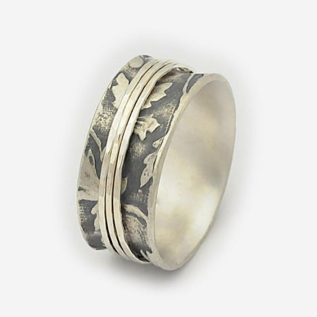wedding photo - Organic Leaf Spinning Ring, Nature spinner ring, Silver spin rings, Woodland ring, Meditation ring, Wedding band, Spinning rings for women