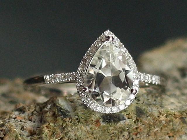 wedding photo - White Sapphire Engagement Ring & Diamond Halo Pear drop Cut Goccia Grand 2.5xt 10x7mm Custom Siz White-Yellow-Rose Gold-10k-14k-18k-Platinum