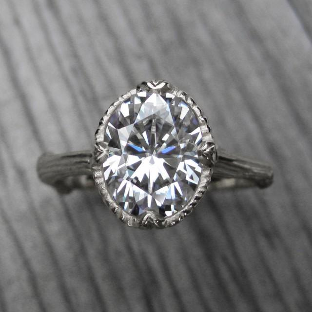 wedding photo - Oval Moissanite Branch Engagement Ring: White, Yellow, or Rose Gold; 2.1ct Forever Brilliant ™