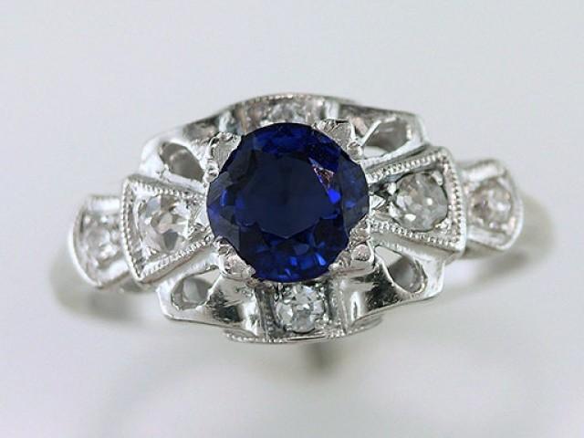 wedding photo - Vintage Antique 1.10ct Sapphire & Diamond Platinum Art Deco Engagement Ring