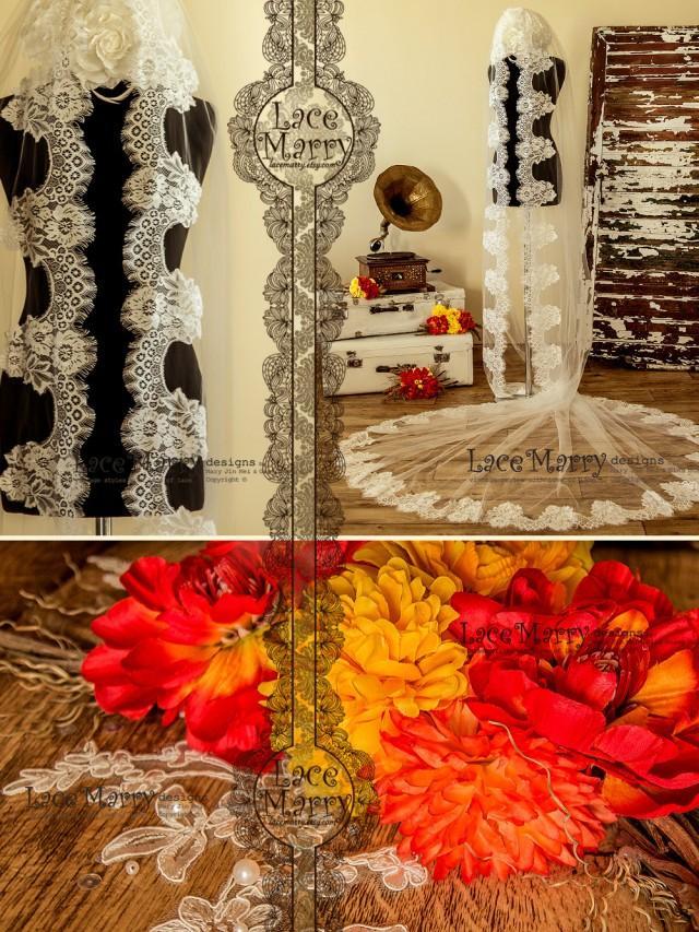 wedding photo - Murka Bridal Veil, Long Wedding Veils, Royal Wedding Veils, Alencon Lace Veils, Mantilla Veils, Elbow Length Veils, Wedding Veils