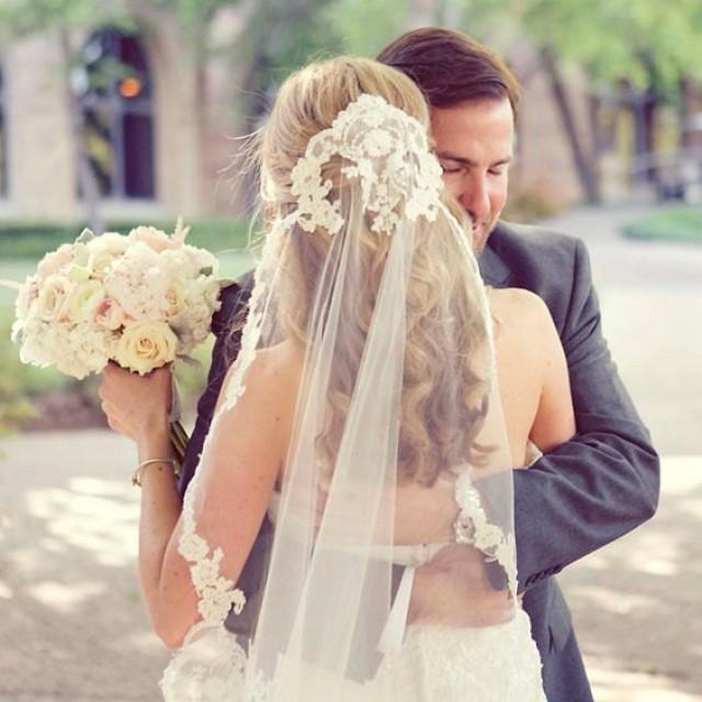 wedding photo - White Wedding Veil, Ivory Custom Bridal Veil, Headband, Boho Veil, Chapel Veils, Cathedral Veils, Ready to ship, Veils