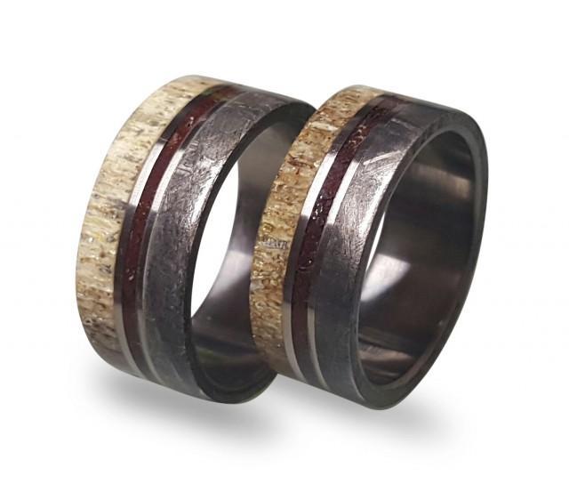 wedding photo - Titanium Wedding Ring Set, Antler Ring Set,  His and Hers Meteorite Rings With Deer Antler and Dinosaur Fossil Inlay