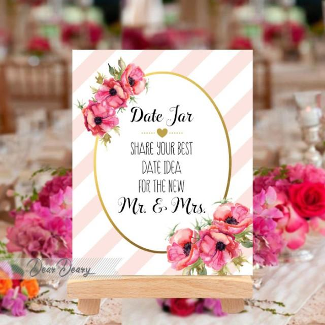 Date Jar Idea Sign And Cards Instant Download Printable: Printable Gold Date Jar Sign -Date Night Sign