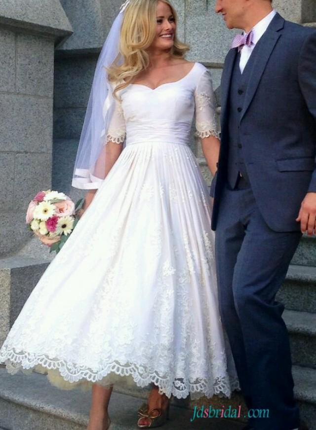 H1557 vintage half sleeved lace tea length wedding dress for Vintage t length wedding dresses