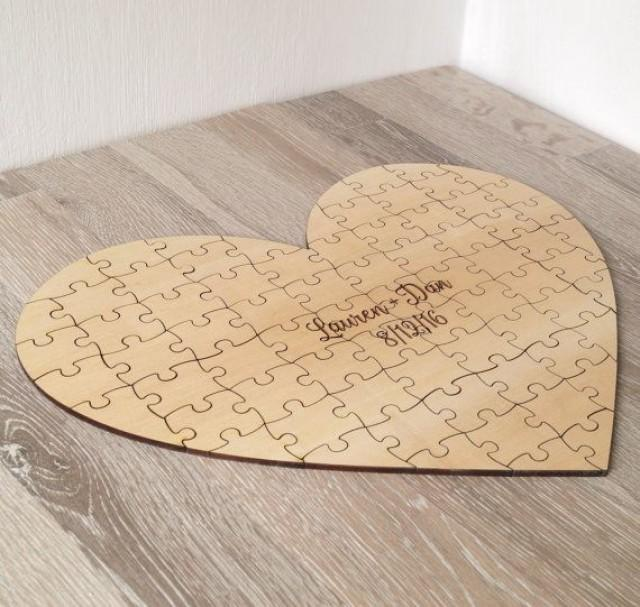 Wedding Guest Book Puzzle, Guest Book Alternative, Custom Heart Puzzle, Personalized Rustic Wedding Guest Book