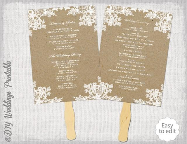 Rustic wedding fan program template quotrustic lacequot diy kraft order of ceremony printable ecru fan for Diy wedding program fan template