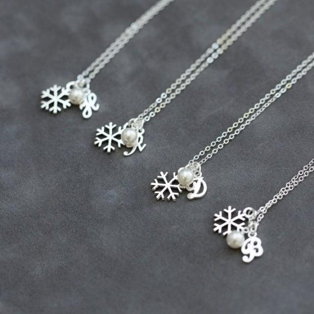 wedding photo - Snowflake Bridesmaid Necklace Set Of 8, Winter Wedding Party Jewelry, Swarovski Pearl, Sterling Silver Initial Necklace