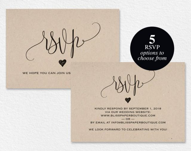 Wedding Invitations With Postcard Response Cards: RSVP Postcard, RSVP Template, Wedding Rsvp Cards, Wedding
