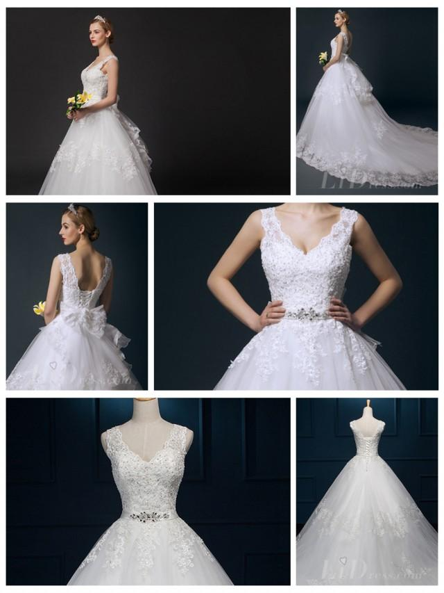 V Neck Beaded Bodice Ball Gown Wedding Dress 2553045