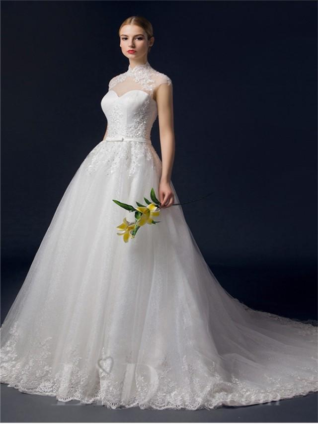wedding photo - Illusion Neckline Lace Appliques A-line Wedding Dress