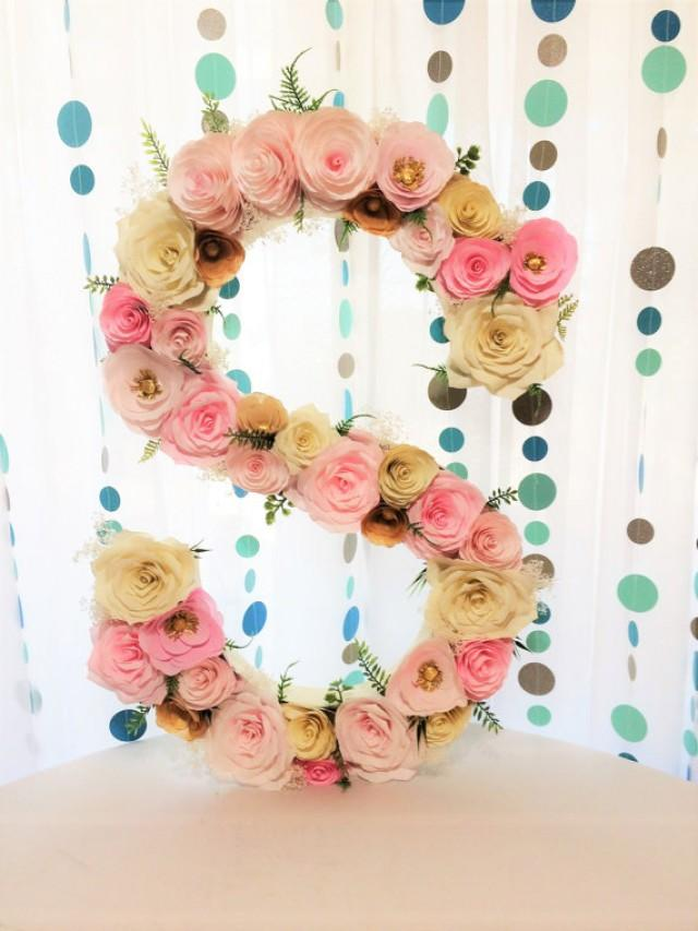 "wedding photo - Floral letter, Large 23"" Blush & gold paper flower letter, Made in any letter or color, Baby shower floral letter, Nursery decor, Wall decor"