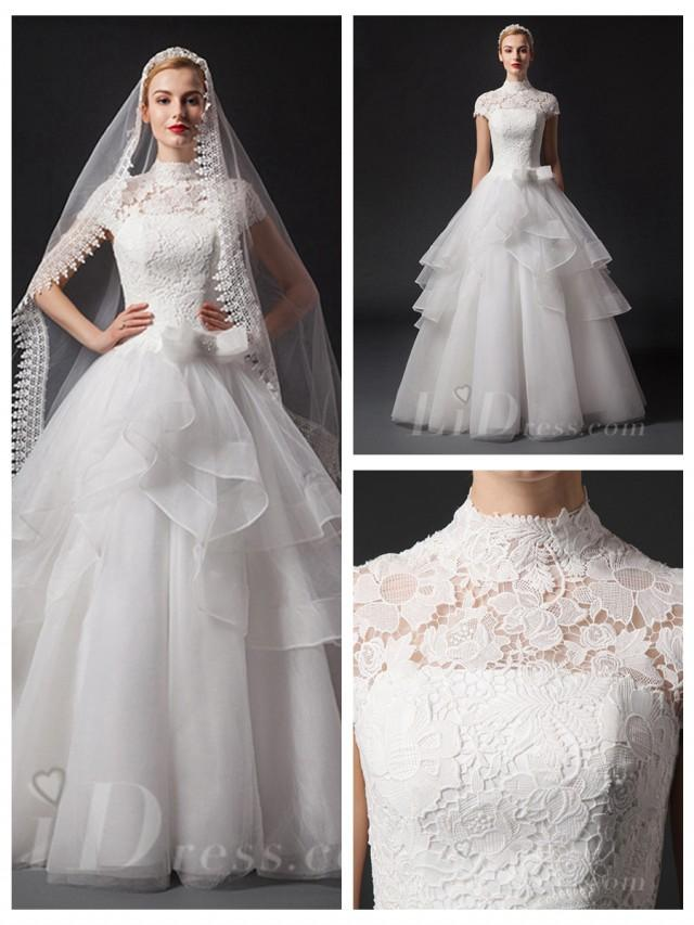 wedding photo - Short Sleeves High Neckline Natural Waist Floor Length Ball Gown Wedding Dress