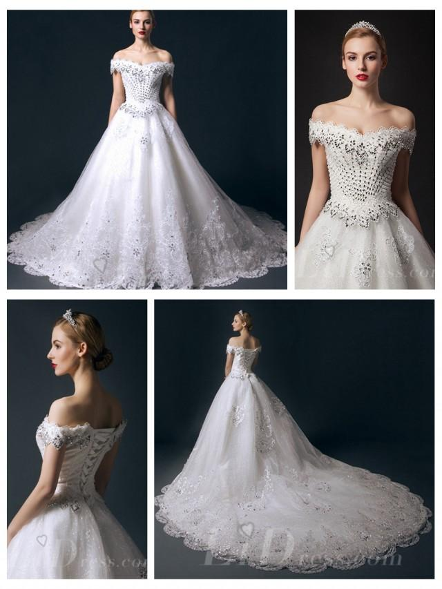 wedding photo - Off-the-shoulder Beaded Bodice A-line Wedding Dress