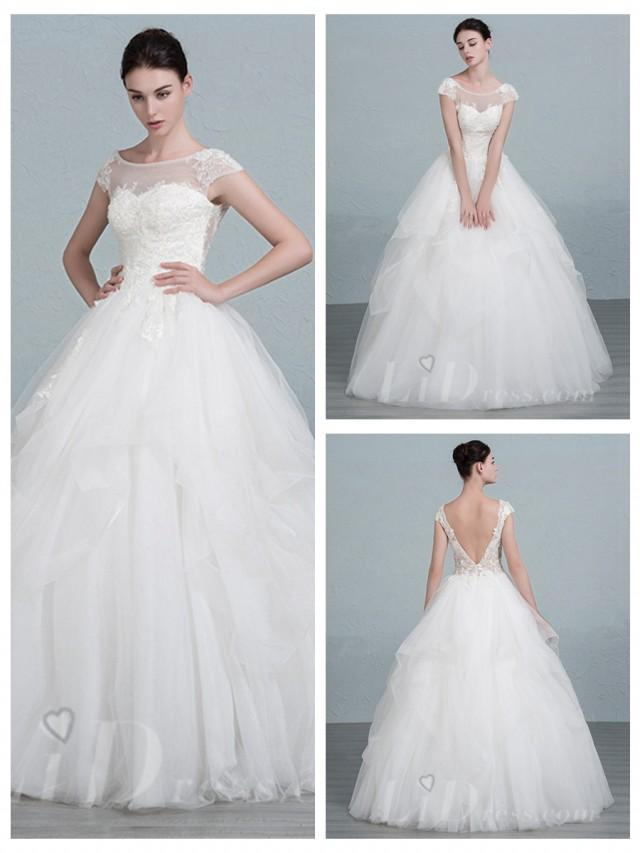 wedding photo - Short Sleeves Scoop Neckline Ball Gown Wedding Dress