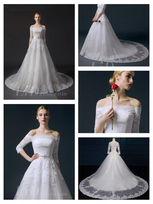 wedding photo - Off-the-shoulder Half Sleeves Lace Appliques A-line Wedding Dress