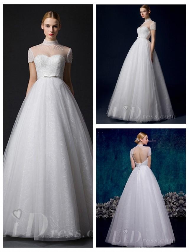 wedding photo - Short Sleeves Illusion High Neckline A-line Wedding Dress