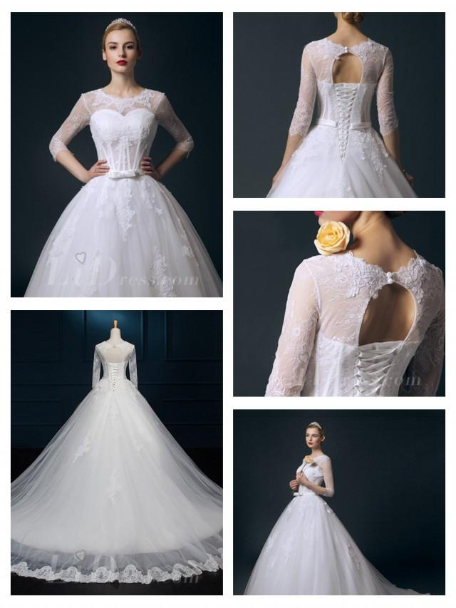 wedding photo - Straps V-neck Beaded Lace Appliques A-line Wedding Dress