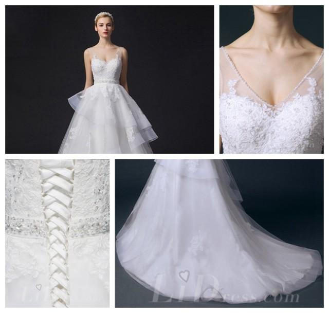 wedding photo - Cap Sleeves Illusion Bateau Neckline Lace Appliques A-line Wedding Dress