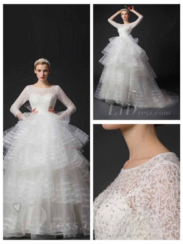 wedding photo - Three-Quarter Length Sleeves Beaded Bodice Wedding Dresses