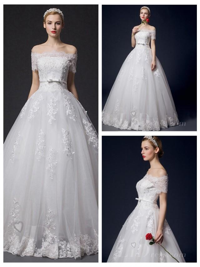 wedding photo - Off-the-shoulder Lace Appliques Bridal Ball Gown