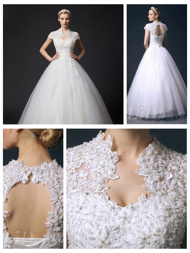 wedding photo - Cap Sleeves Queen Ann Neckline Ball Gown Wedding Dress