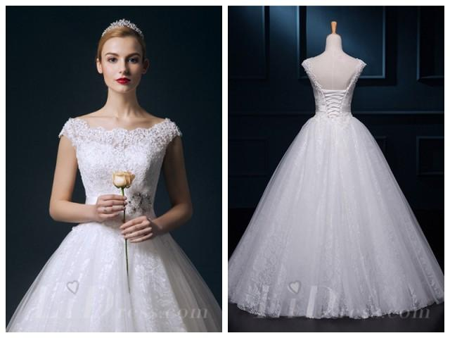 wedding photo - Straps Beaded Lace Ball Gown Wedding Dress