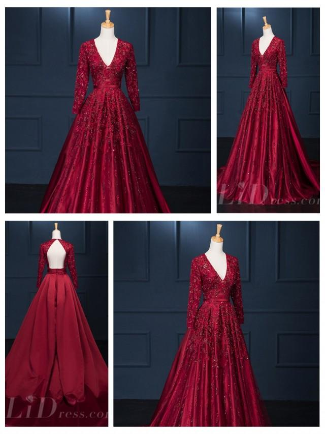 wedding photo - Long Sleeves V-neckline Beaded Burgundy A-line Wedding Dress