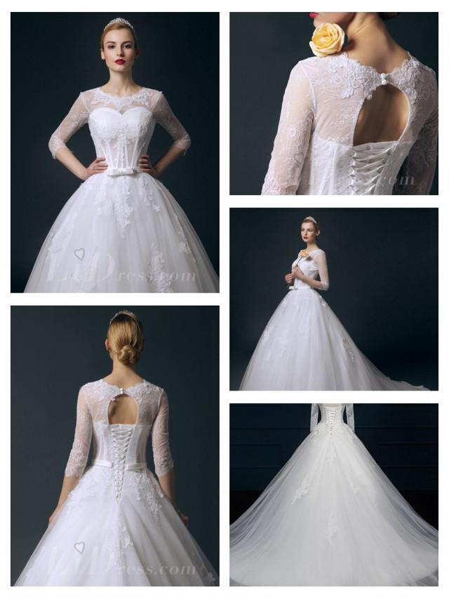 wedding photo - Illusion Three-Quarter Sleeves Bateau Neckline Ball Gown Wedding Dress
