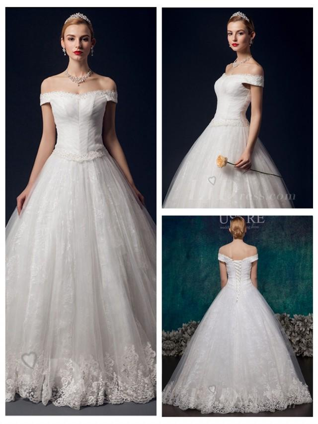 wedding photo - Off the Shoulder A-line Lace Appliques Wedding Dress