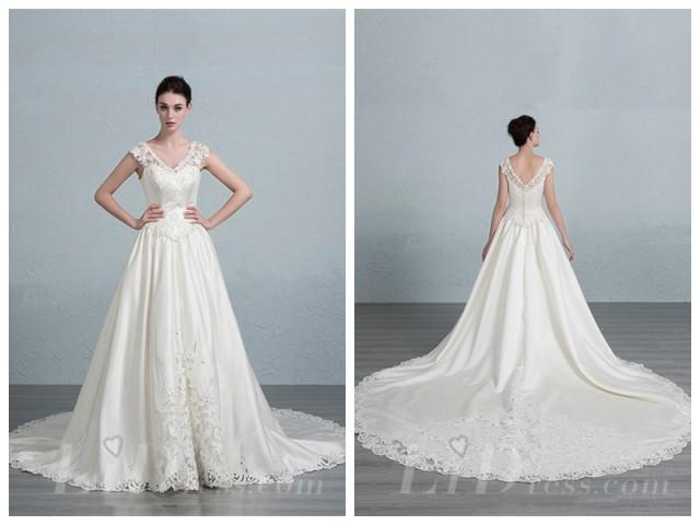 wedding photo - Lace V-neck and V-back A-line Wedding Dress