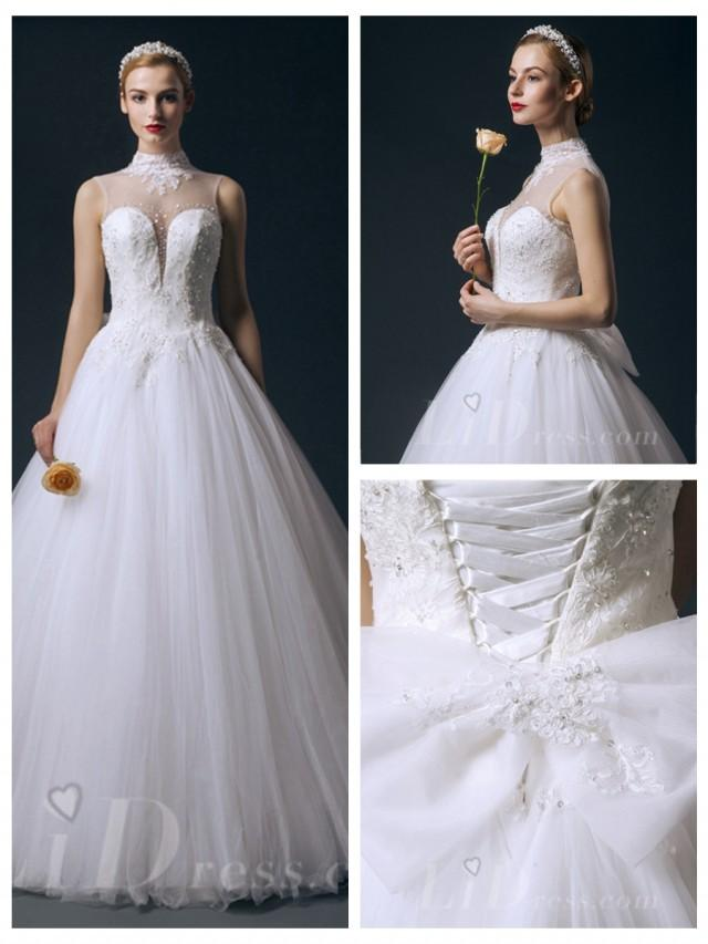 wedding photo - Illusion High Neckline Beaded Princess A-line Wedding Dress
