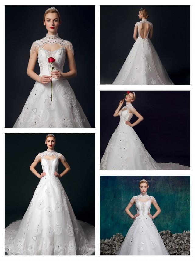 wedding photo - High Neck Beaded Lace Appliques Open Back Ball Gown Wedding Dress