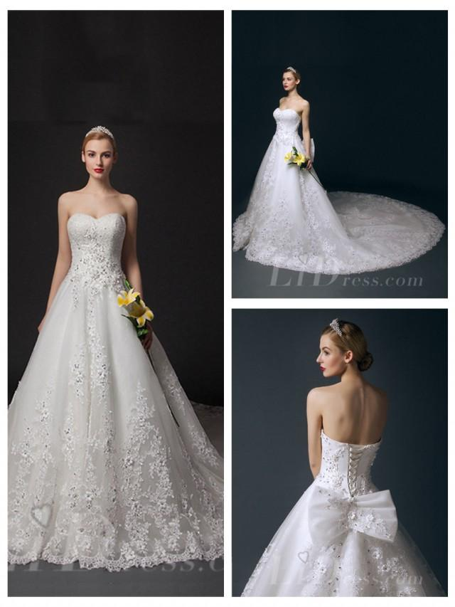 wedding photo - Strapless Beaded A-line Wedding Dress
