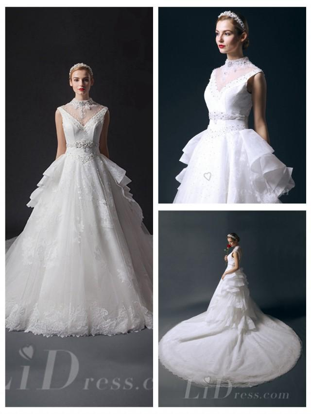 wedding photo - High Neckline Beaded Bodice Ball Gown Wedding Dresses