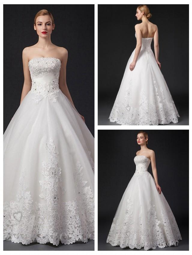 wedding photo - Strapless Beaded Bodice Lace Appliques Ball Gown Wedding Dress