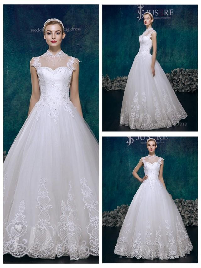 wedding photo - High Neck Princess Lace Ball Gown Wedding Dress