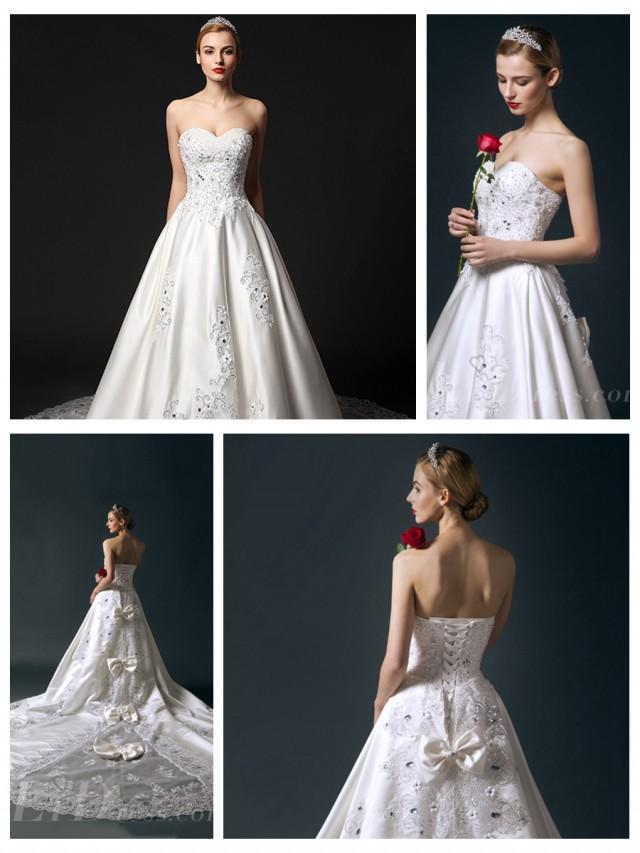 wedding photo - Strapless Sweetheart Beaded Bodice A-line Wedding Dress